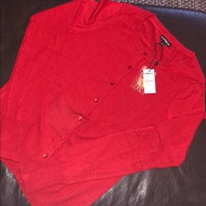 Express red scoop neck button down cardigan